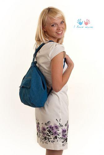 """Сумка-рюкзак для мамы  """"Голубой джинс """""""
