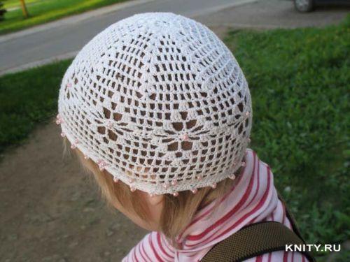 Детские летние шапочки вязаные крючком со схемой. схема чепчика.