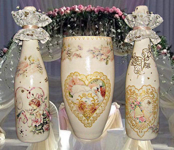 Декор свадебной бутылки своими руками