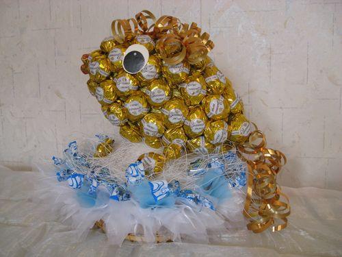 Золотая рыбка из конфет своими руками пошаговое фото для начинающих 50