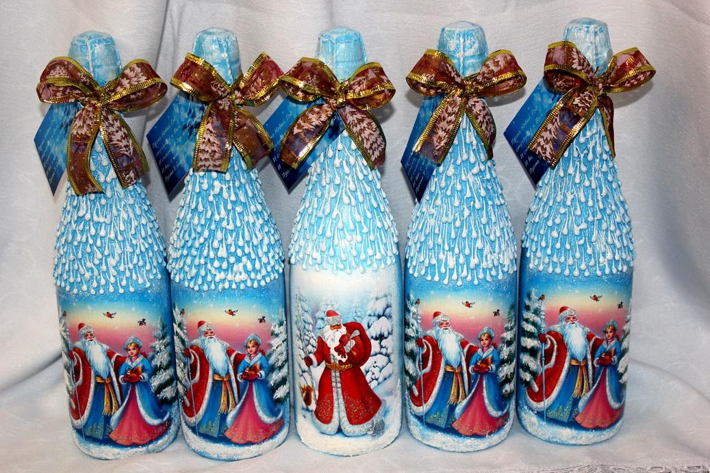 сочетание прочности, декупаж новогодних бутылок шампанского фото яркие