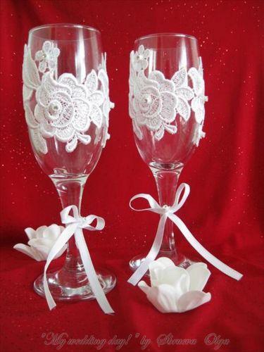 Как украсить самой бокалы на свадьбу